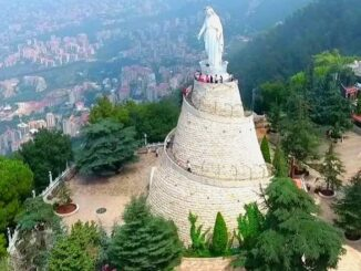 """The """"Our Lady of Lebanon"""" monument, Harissa, in a privileged location overlooking Beirut."""